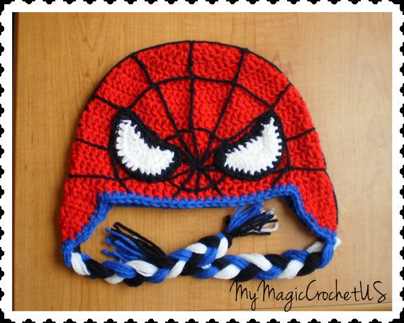 Spiderman+Crochet+Hat+от+MyMagicCrochetUS+на+Etsy