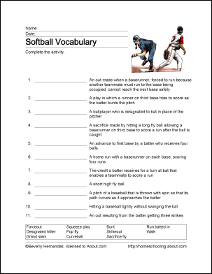 softball word search vocabulary crossword and more. Black Bedroom Furniture Sets. Home Design Ideas
