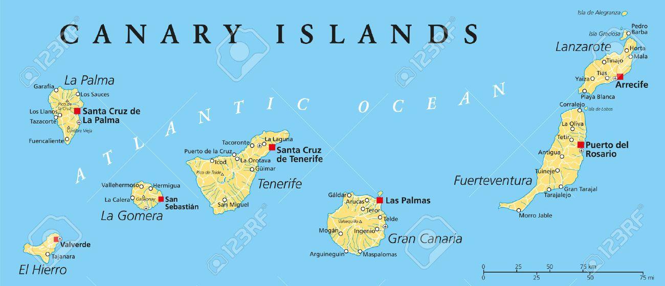 Islas Canarias Mapa Político Con Lanzarote Fuerteventura Gran Canaria Tenerife La Gomera La Palma Y El Hierro Islas Canarias Lanzarote Islas