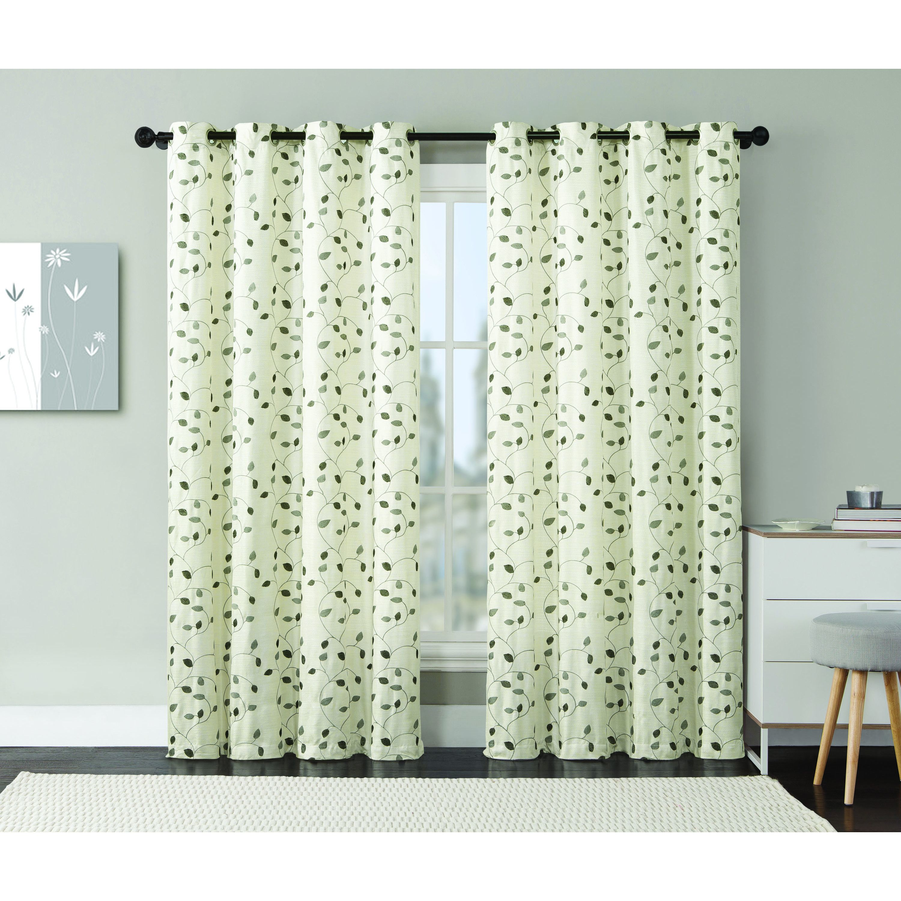 Vcny jasmine embroidered grommettop curtain panel blue size