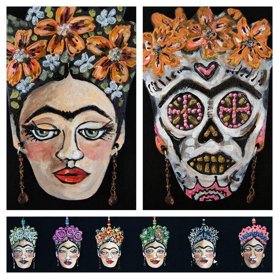Nasturtium Frida Kahlo Hanging Collectors Ornament / Sugar Skull on other side - Embellished Acrylic Hand Painted