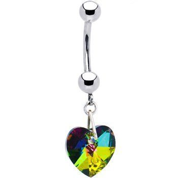Solid 14k White Gold Vitrail Heart Belly Ring Body Candy $54 99