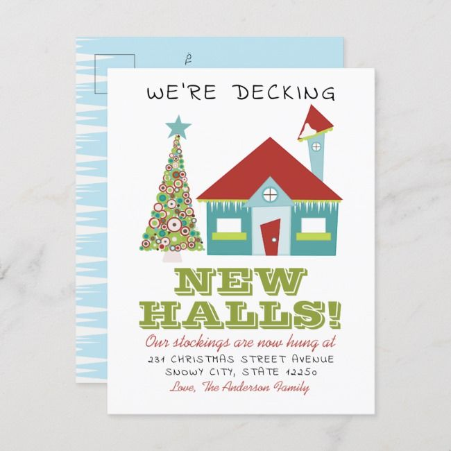 Decking New Halls Christmas Home Holiday Moving Announcement Postcard