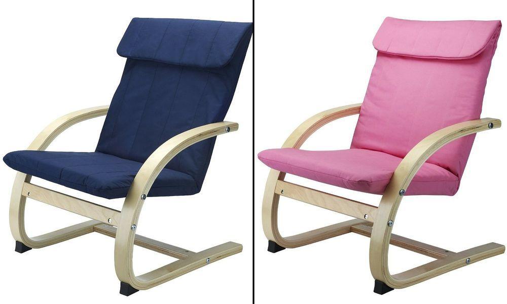 Wooden Kids Chair Blue Pink Toddler Lounge Armchair Children Relax Movie  Cozy