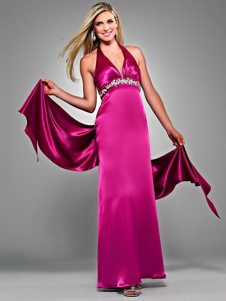 cfb29a12074e Sheath/Column Halter Elastic Woven Satin Ankle-length Sleeveless Beading  Prom Dresses at dressestylish