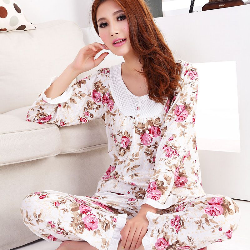 1291fca14e 2015 New women long-sleeve cotton sleep pajama sets female nightwear lady  floral Pyjamas nightgowns teenage pijamas sleepwear