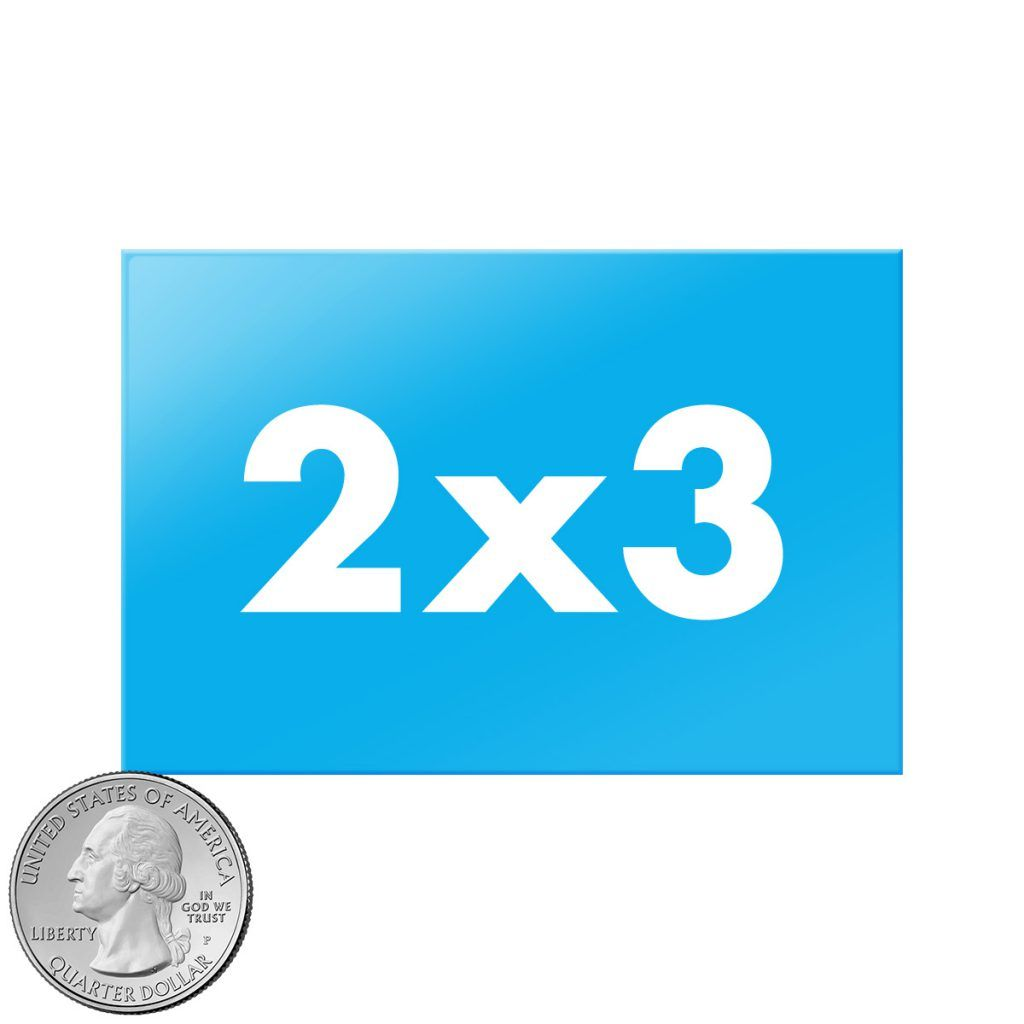 2x3 inch rectangle buttons size compared to quarter