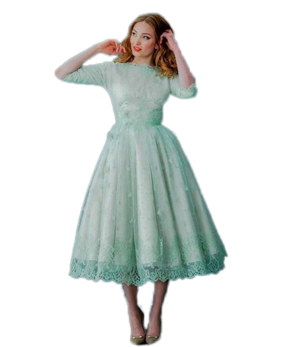 2016 Vintage Lace Dresses Neck Mint Green Tea Length Spring Plus Size Backless