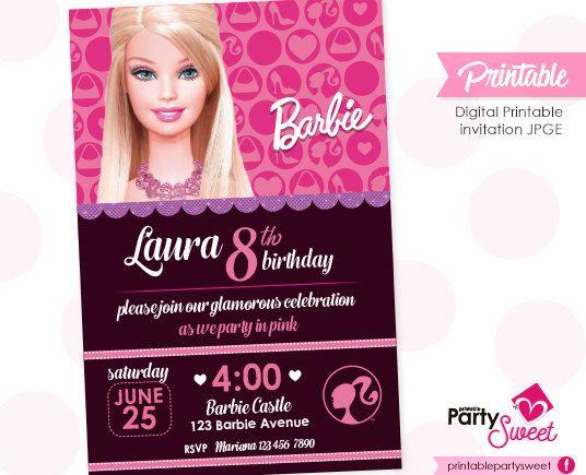 Barbie Cumpleaños Invitación Fiesta Barbie Archivo Digital