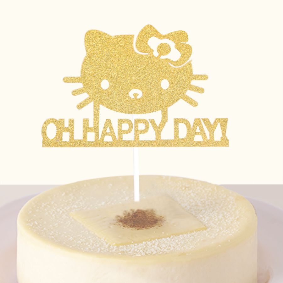 Pc cute cat cake cupcake topper oh happy day cake flags happy
