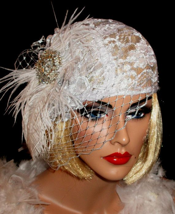 5aff0f8f GATSBY GLAM - Romantic Roaring 20's Bridal Flapper Hat In White Alencon  Lace and & Silver Birdcage Veil on Etsy, $58.00