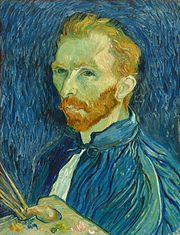 A redbearded man in a blue smock holding paintbrushes and artist palette in his hand; looks to the left - Self portrait of Vincent van Gogh.  A sensitive soul who suffered from a mental illness and eventually took his own life.