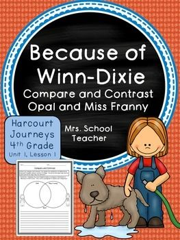 because of winn dixie 4th grade readingcompare and contrasthoughton mifflin harcourtvenn diagramselementary