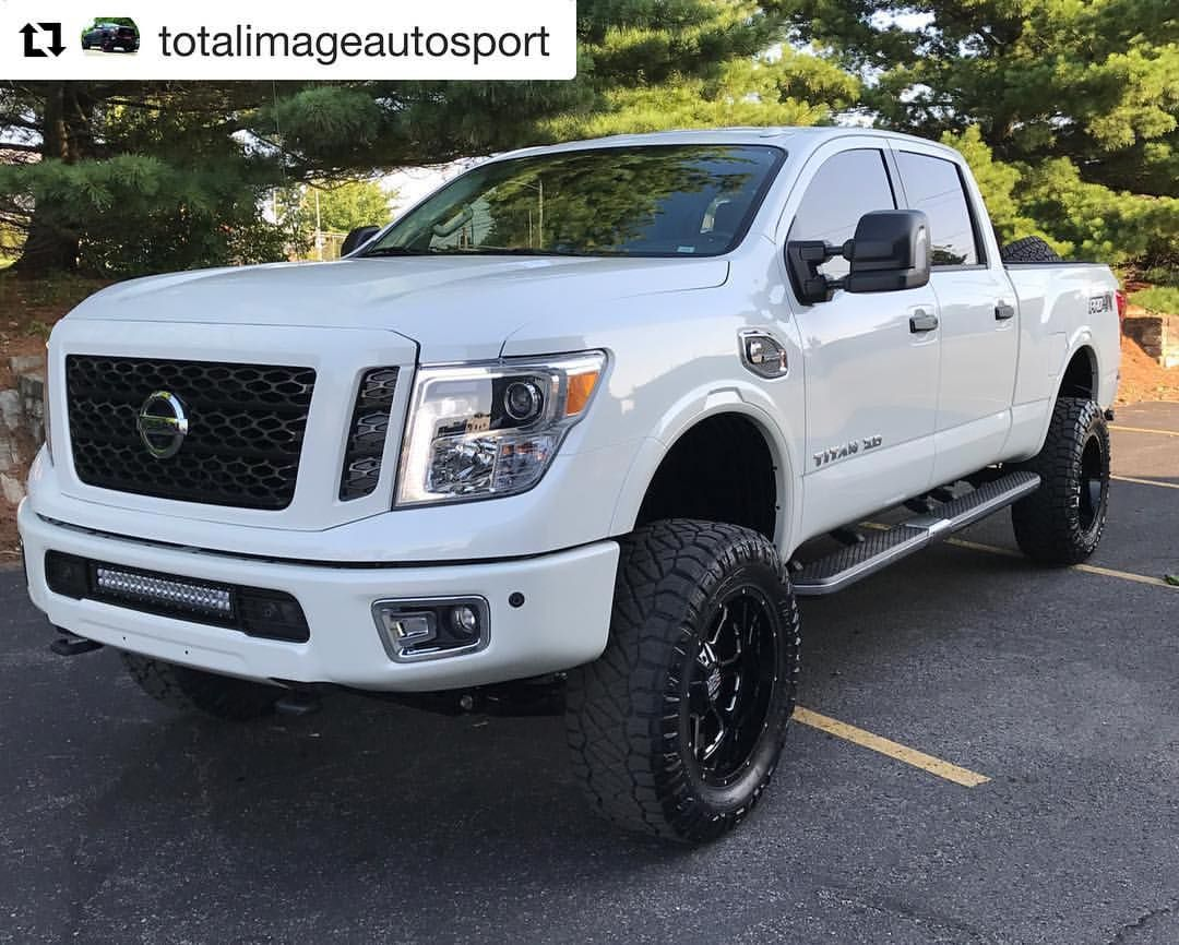 Repost Totalimageautosport 2017 Titan Xd Pro 4x Diesel In For A 6in Calmini Lift 20x10 Xd Wheels 35x12 50x20 Nissan Titan Xd Nissan Titan Nissan Trucks