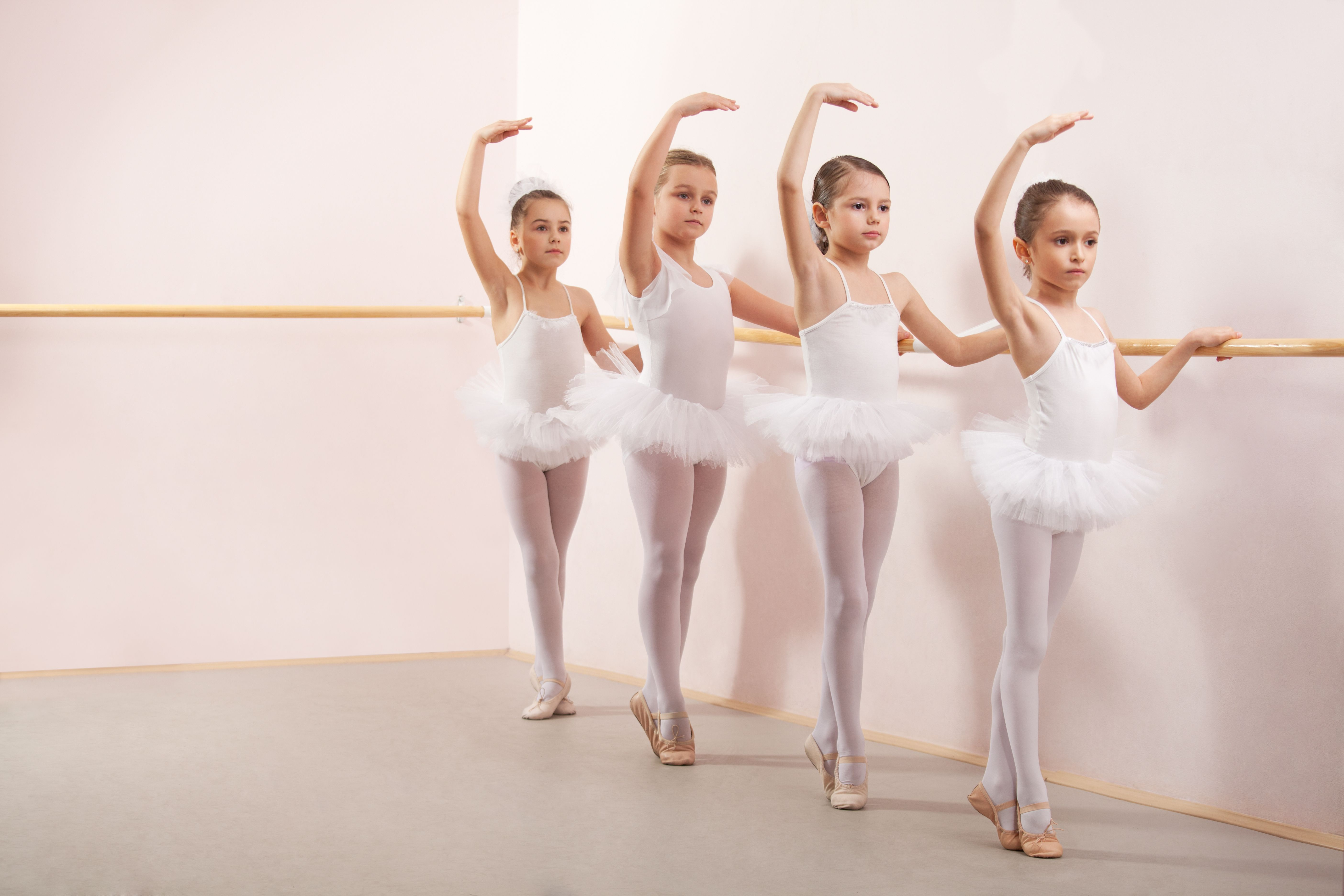 Group of four little ballerinas practicing | Balet | Pinterest