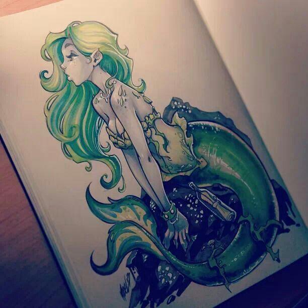 Martin Abel mermaid tattoo idea. How cute is this!