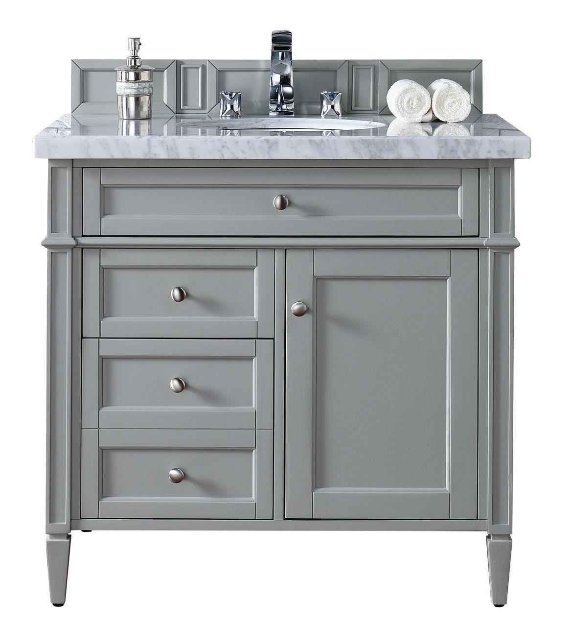 Contemporary 36 Inch Single Bathroom Vanity Gray Finish No Top