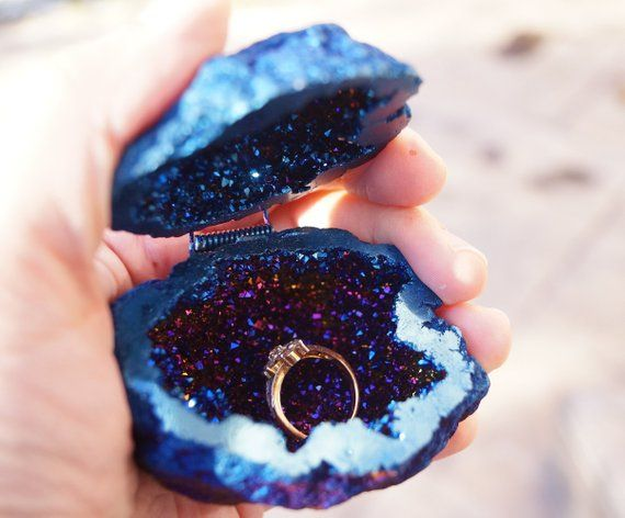 READY to ship Cobalt Blue Crystals Geode Agate Box, Wedding Ring Box,Perfect for Ring Display Holder,Geode Engagement Ring Box,Wedding Decor – My happily ever after. <3