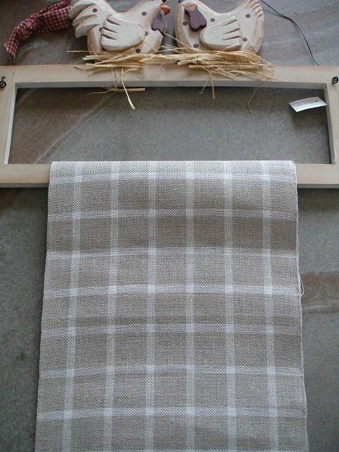 Toile de lin à broder carreaux écru et ficelle lin 11 fils, bande de lin à broder : Broderie par la-fee-des-mers