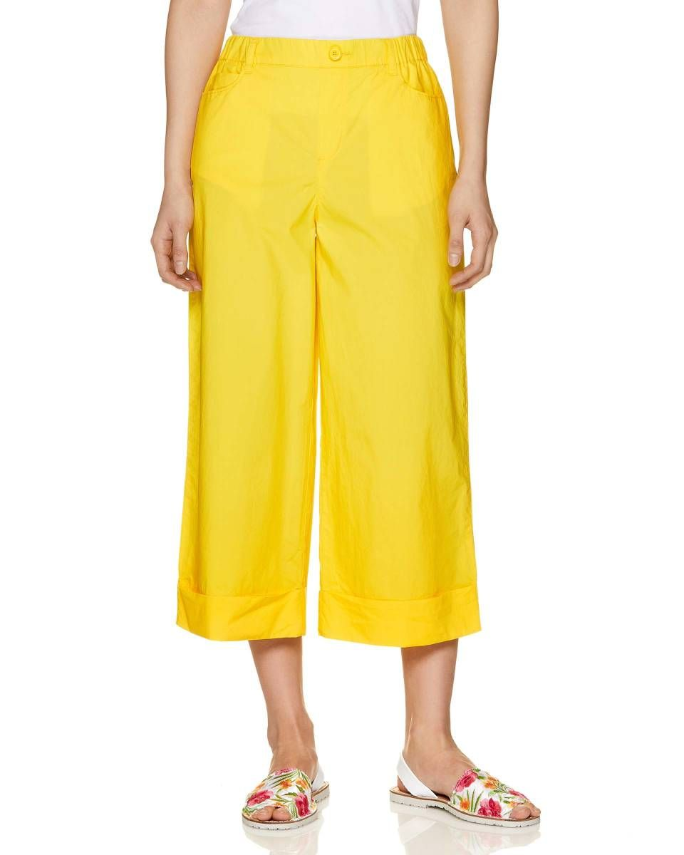 Pantalones Y Faldas Mujer Nina 2019 Pantalon 3 4 De Popelina Amarillo Envios Gratuitos Para Compras Superiores A 50 Faldas Mujer Pantalones Benetton