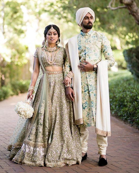 c589e2dbb0 Wedding Inspiration from #Sabyasachi #bridal #lehenga and the groom's  floral Sherwani #sequin #fashion #ootd #indianbride #indianwedding  #shaadibazaar ...