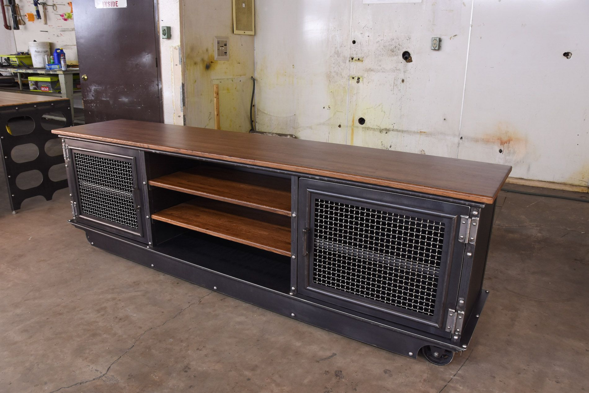 96″ Long Boxcar Ellis Console – Model #E50 #vintageindustrialfurniture