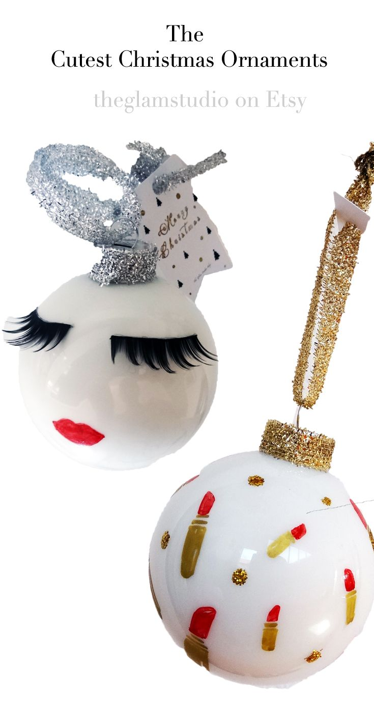 the cutest christmas ornaments with lashes lips