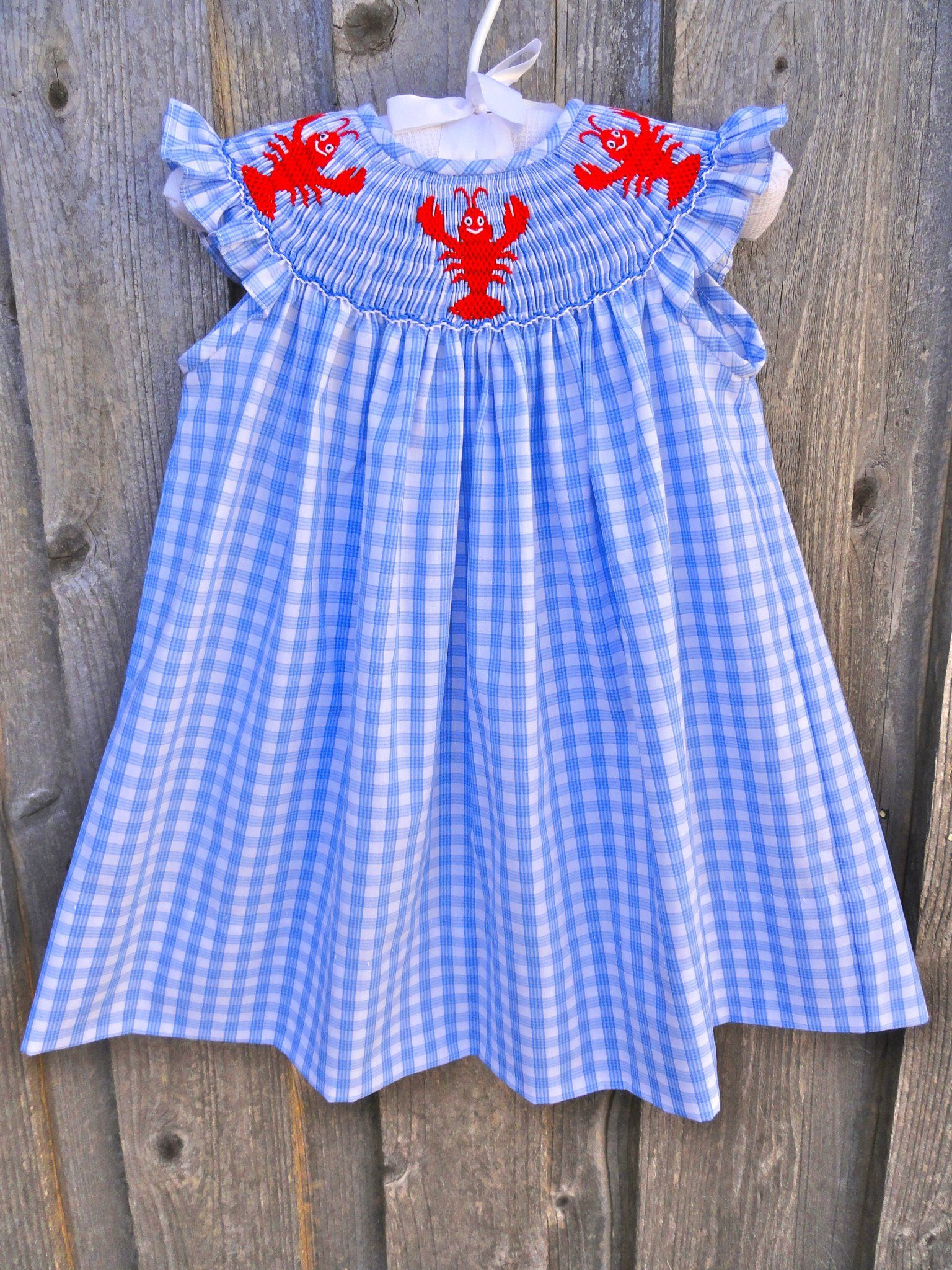 237dc6c147 Smocked Lobster (or Crawfish) Dress from Smocked Auctions