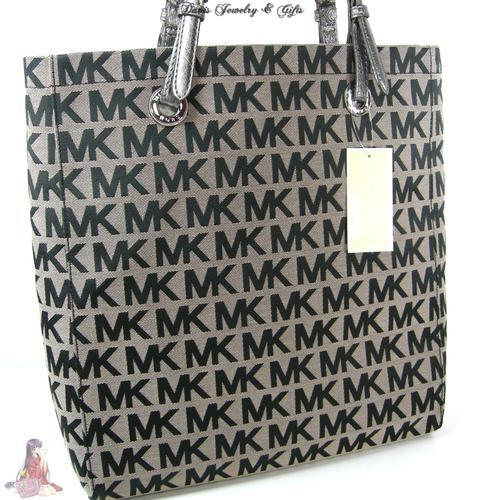 af521cc60a Michael Kors Logo MK Signature Purse XL Tote Black Gray Shoulder Hand Bag