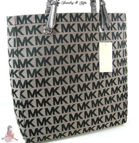Michael Kors Logo MK Signature Purse XL Tote Black Gray Shoulder Hand Bag |  eBay