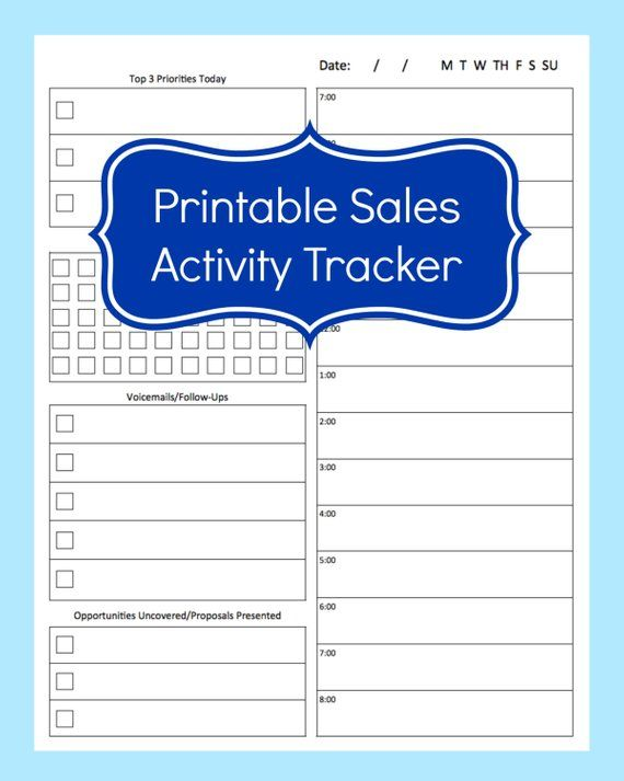 Sales Activity Tracker Daily Planner Cold Call Template Tracking Sheet Printabl