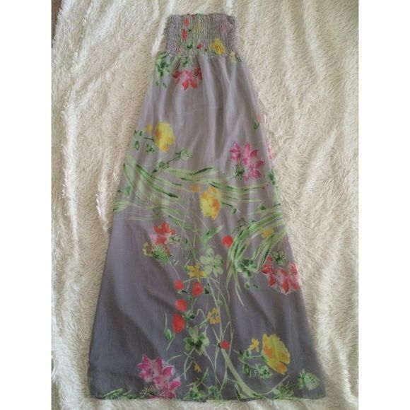 Floral Strapless Maxi Dress Very comfy and cute floral maxi dress! Perfect for spring. Sheer floral print floats on top of fully lined with grey underlay. Bodice is very stretchy! Worn once for Easter! Old Navy Dresses Maxi