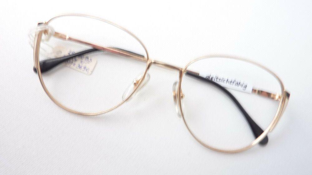 Vintage Brille Damen Metall Fassung Oversized Form Gold Schwarz Creme Size M Brille Brillen Damen Damenbrillen