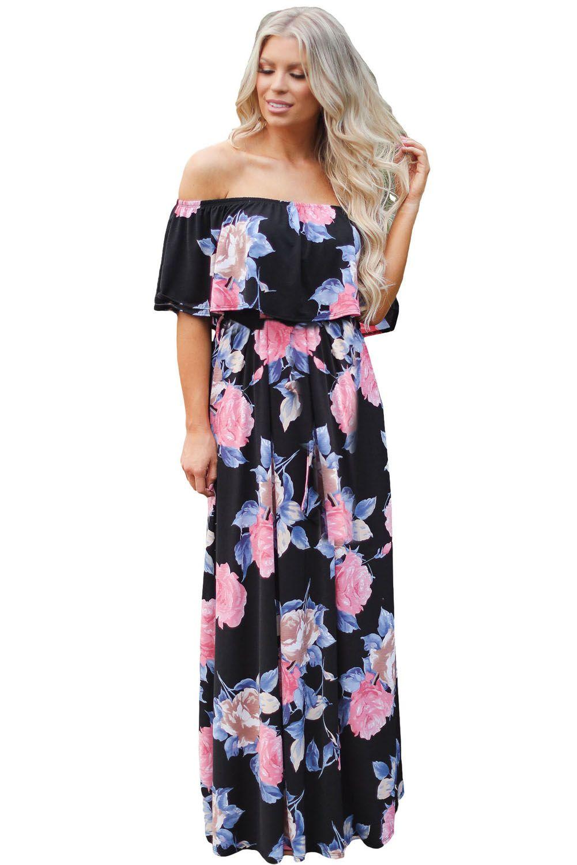 Black flower print grounding off boho shoulder long dress