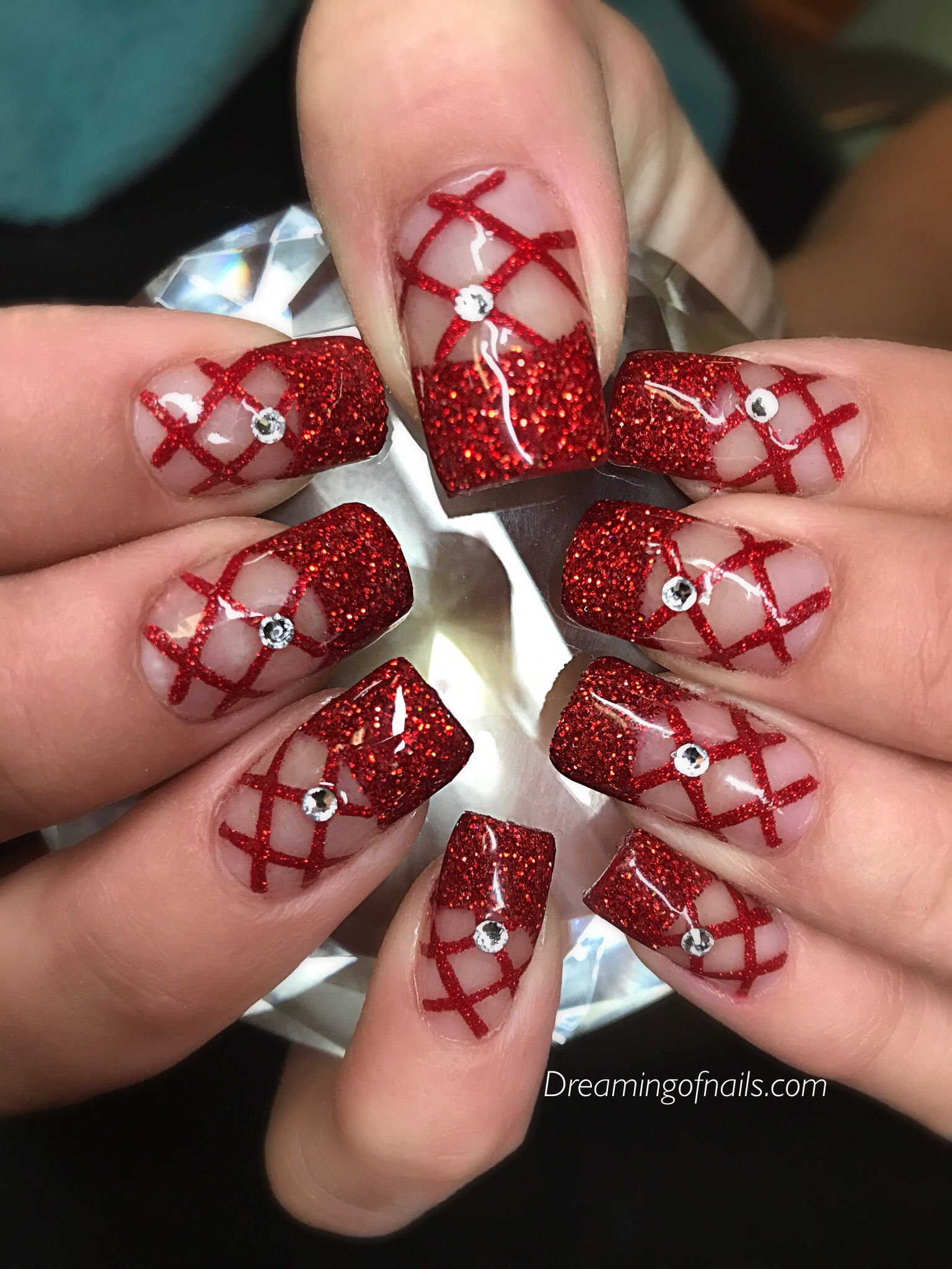 6 fun red nail designs for December | Red glitter, Red nail designs ...