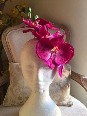 Magenta Orchid fascinator gorgeous on by CanteringDesigns on Etsy