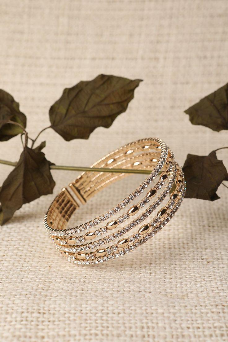 Rhinestone pave multi strand bead inset open cuff bracelet women