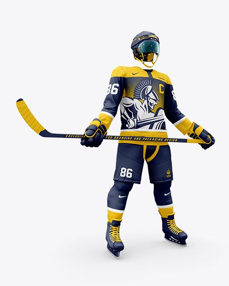 Men S Full Ice Hockey Kit With Stick Mockup Hero Shot In Apparel Mockups On Yellow Images Object Mockups In 2020 Design Mockup Free Ice Hockey Clothing Mockup