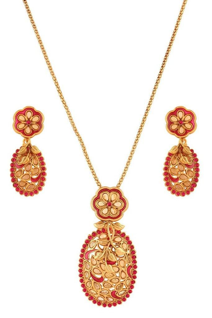 Pink Gold Plated Necklace Set
