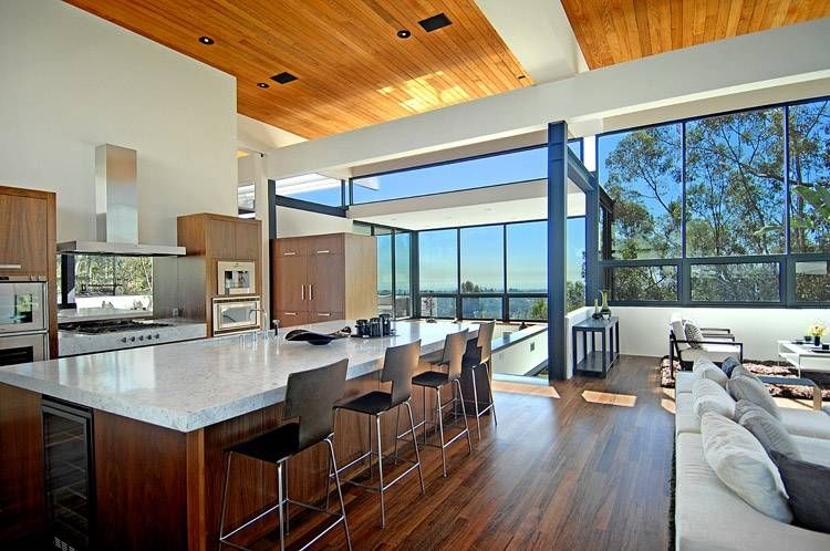 contemporary residence with ocean views and city lights in los