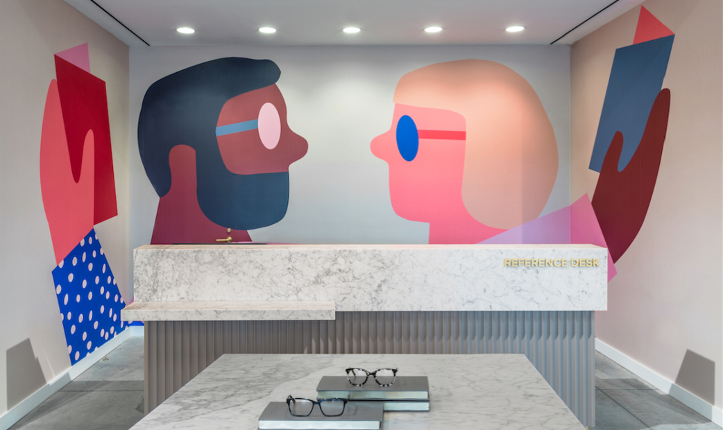 Warby parker mural charlotte nc artist anna k vecses - Wallpaper store charlotte nc ...