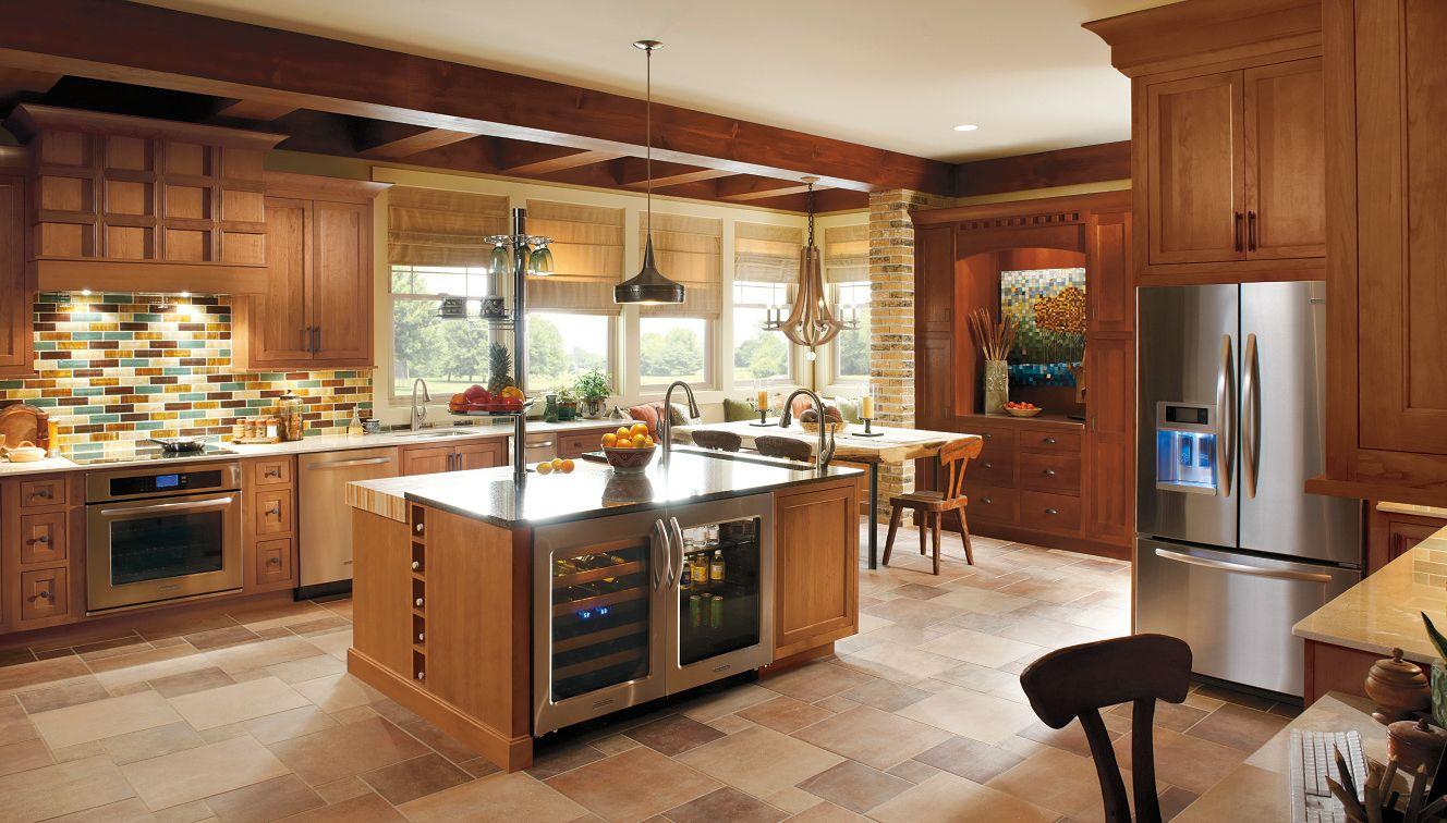 Natural Light Illuminates The Utrillo Cherry And Quarter Oak Doors Finished In Cinnamon Sab Semi Custom Kitchen Cabinets Online Kitchen Cabinets Kitchen Design
