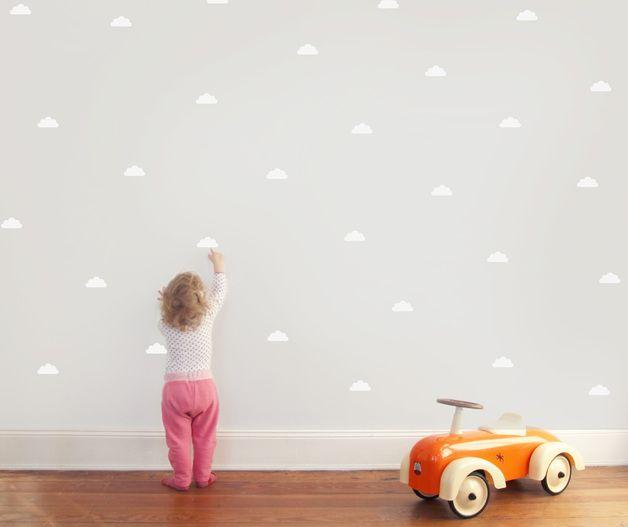 Wandtattoo 30 kleine Wolken zum Aufkleben auf die Wand! Schnell - wandfarben kinderzimmer