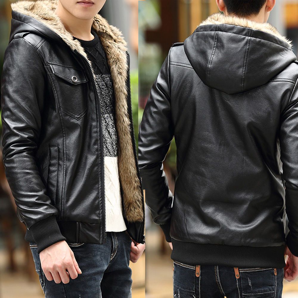 Fashion Men's Coat Thicken Warm Fur Lined Faux Leather