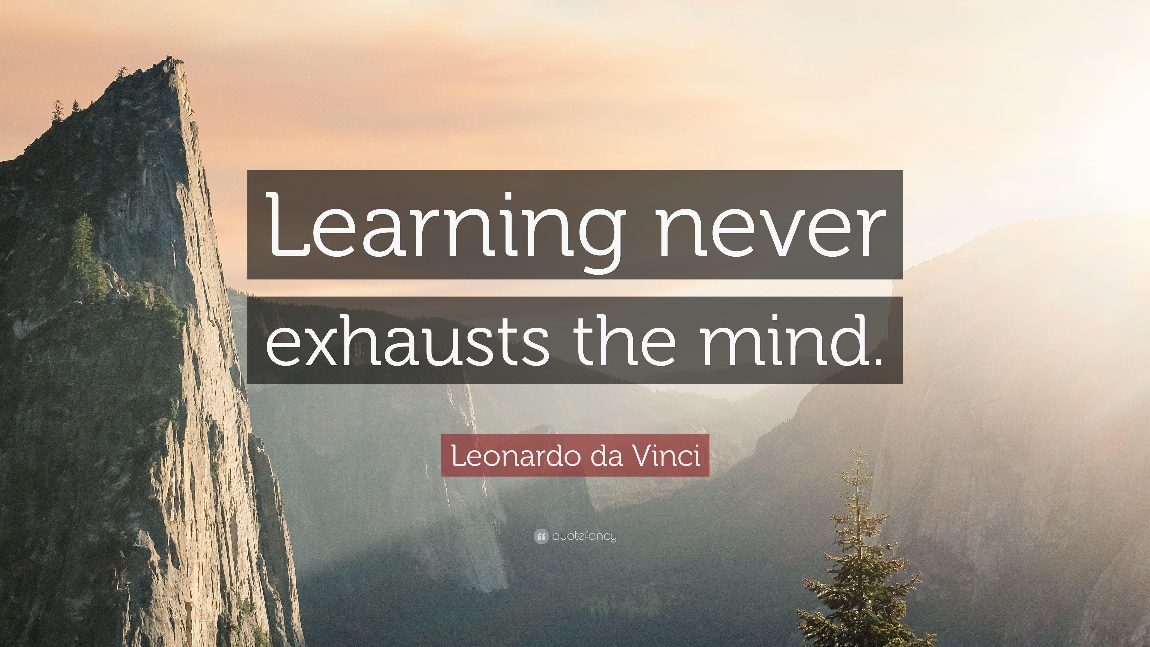 Image result for learning never exhausts the mind leonardo da vinci