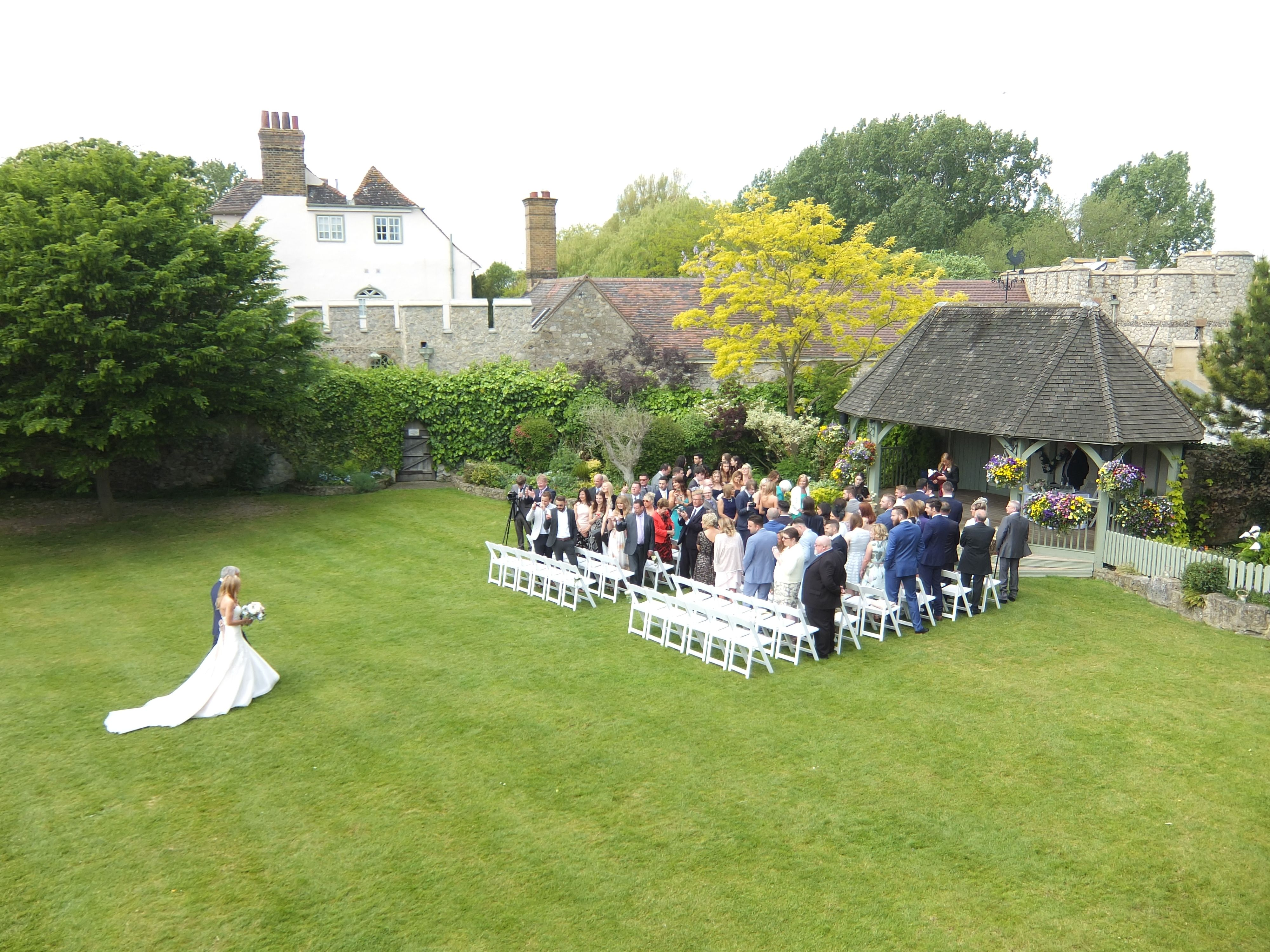 The Pavilion Set Up For An Outside Ceremony
