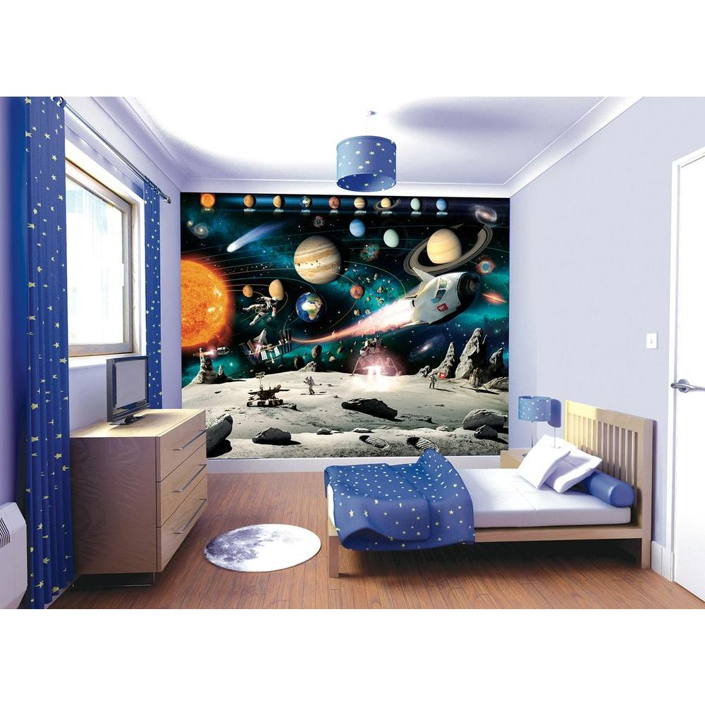 Walltastic 120 In H X 96 In W Space Adventure Wall Mural Wt41837 The Home Depot Wall Murals Kids Wall Murals Boys Space Bedroom