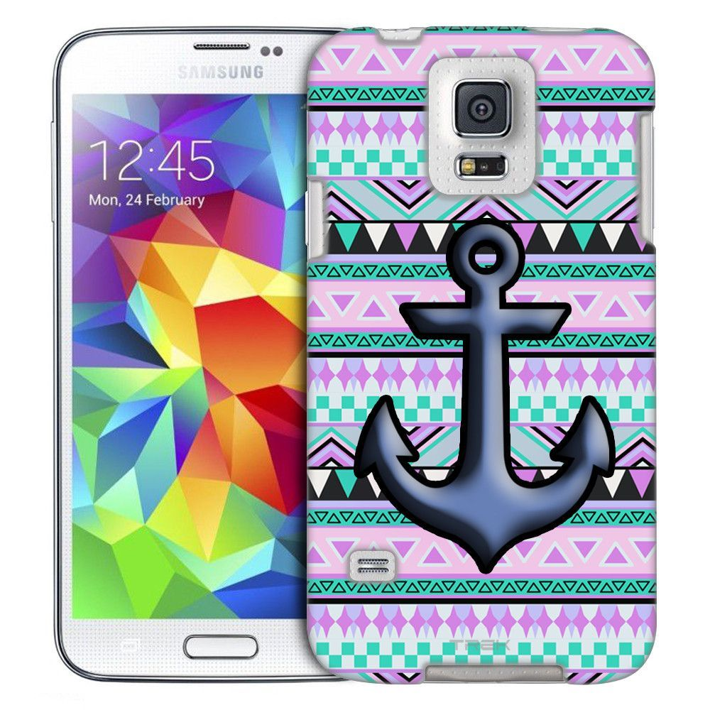 Samsung Galaxy S5 Anchor on Aztec Andes Mauve Teal Slim Case