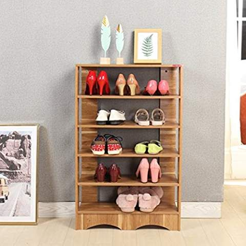 Mr IRONSTONE 5-Tier Free Standing Shoe Rack Solid Wood Shoe Storage Open Shelf Organizer & Mr IRONSTONE 5-Tier Free Standing Shoe Rack Solid Wood Shoe Storage ...