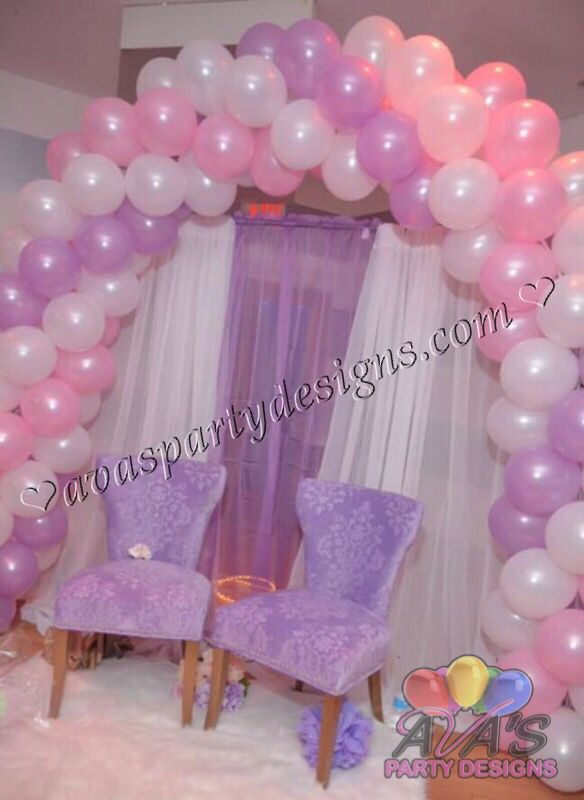 Simple And Elegant Pink Purple White Baby Shower Arch Balloon